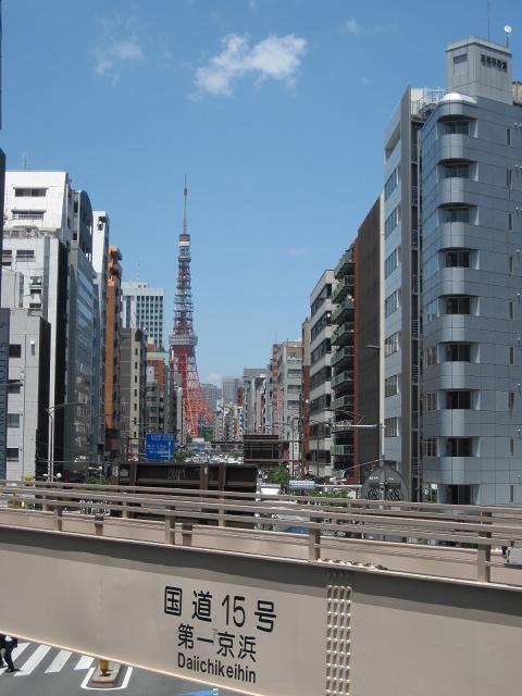 札の辻交差点の歩道橋の上から見た東京タワー@東京都港区