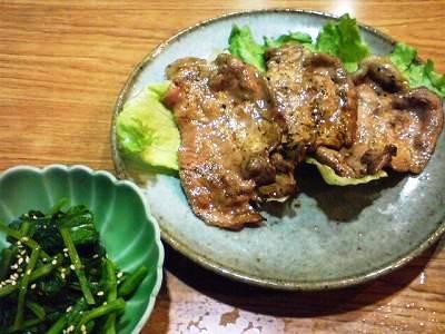 菜の花のおひたしと豚ロースの生姜焼き