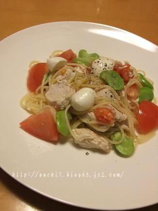 そら豆と鶏の冷製パスタ1