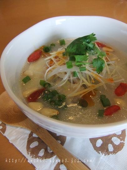 鶏と押し麦とれんこんのスープ煮1