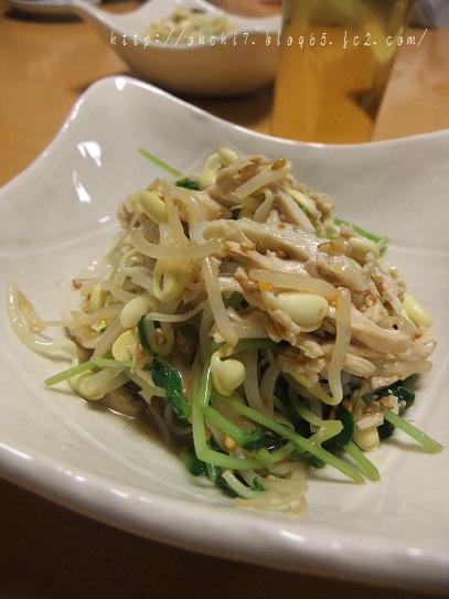 豆もやしとささみの中華風和え物