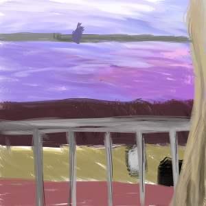 自分のアパートの窓から外見ると、こんな感じ(即興で描いたので超テキトーですが