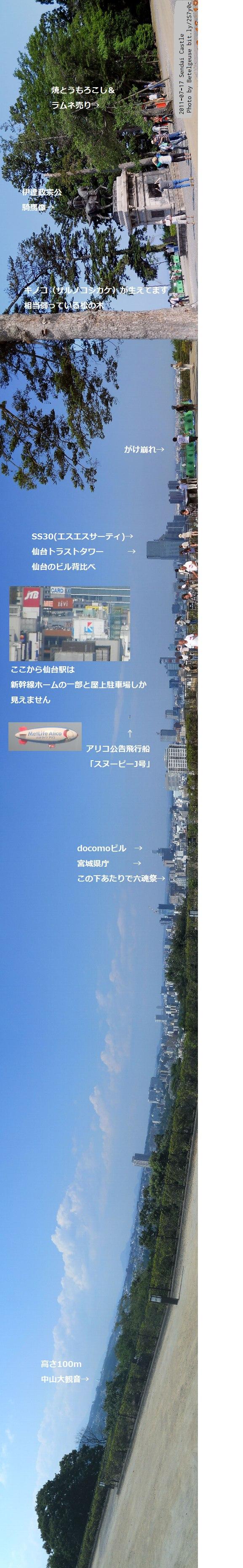 仙台城から見た仙台市街20110717