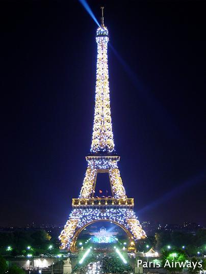 シャイヨ宮から見た、夜のエッフェル塔
