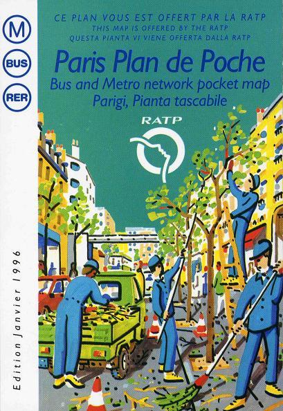 当時のRATPポケット版地図。残念ながら現在はこのデザインではない。