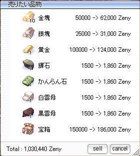 鉱石売却価格