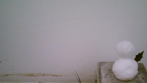 壁と雪達磨