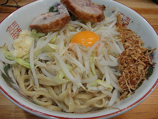 小ラーメン汁なし(野菜少なめ)@ラーメン神豚