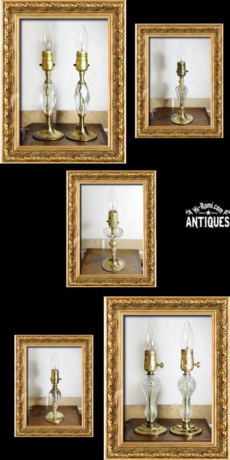 アメリカンヴィンテージテーブルランプ・デスクランプ/ガラス、クリスタル真鍮ライト