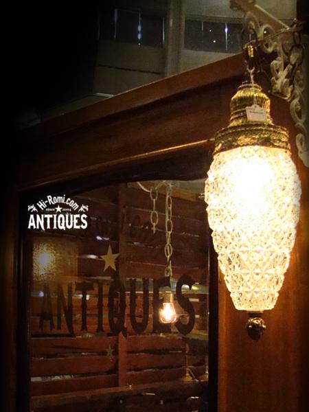 USAヴィンテージクリスタル ダイヤ型エンボス プレスガラススワッグランプ/アンティークライト照明