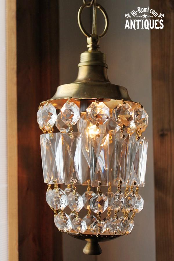 アメリカンヴィンテージ&アンティークガラスプリズムの1灯シャンデリアオクタゴン