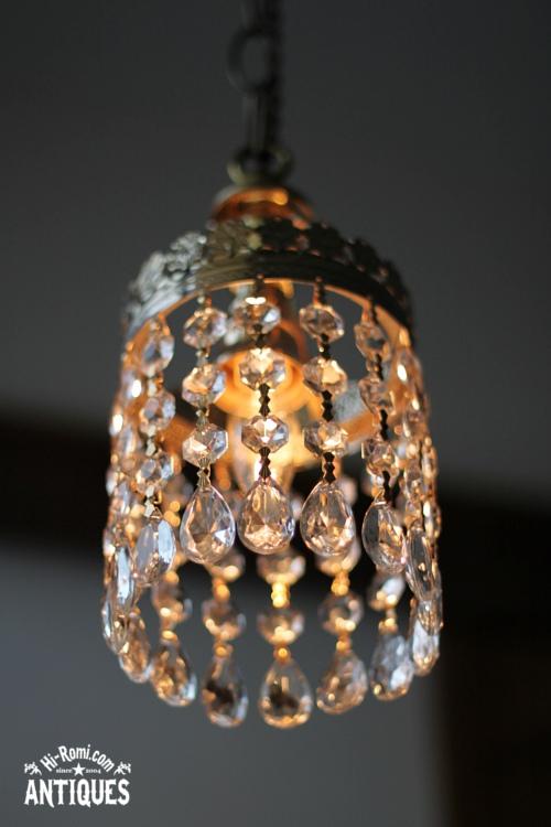 ガラス製ティアドロッププリズムミニシャンデリア/アンティークランプ&ヴィンテージライト