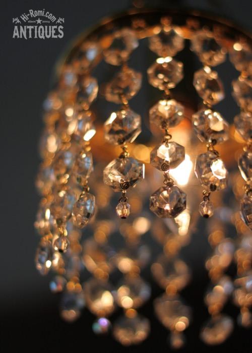 ガラス製オクタゴンプリズムミニシャンデリア/アンティークランプ&ヴィンテージライト