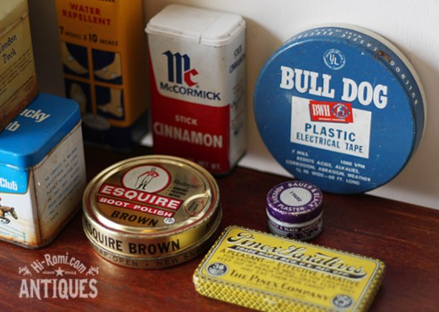 アメリカンアンティーク&ヴィンテージのティン缶、薬缶、ピルケース、小物入れなど