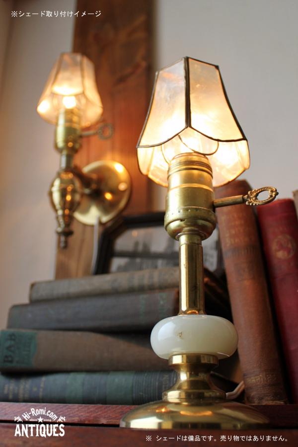 鍵付ミニテーブルランプ/アンティーク真鍮マーブル大理石ライト 20120104-6
