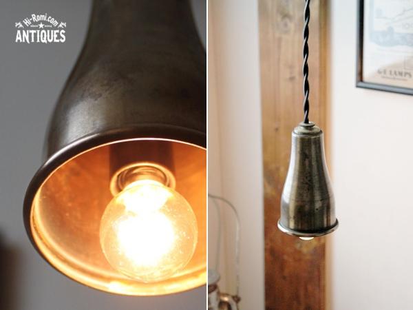 工業系ティン製ペンダントランプ/アンティーク吊下げライト照明