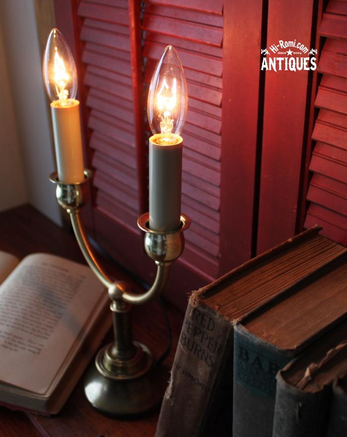 古い2灯キャンドル真鍮テーブルライト/アンティーク卓上ランプ 20120104-8