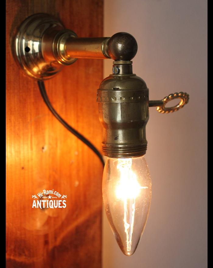 ヴィンテージ真鍮壁掛ライト鍵スイッチ/アンティーク照明ランプ 20120104-9