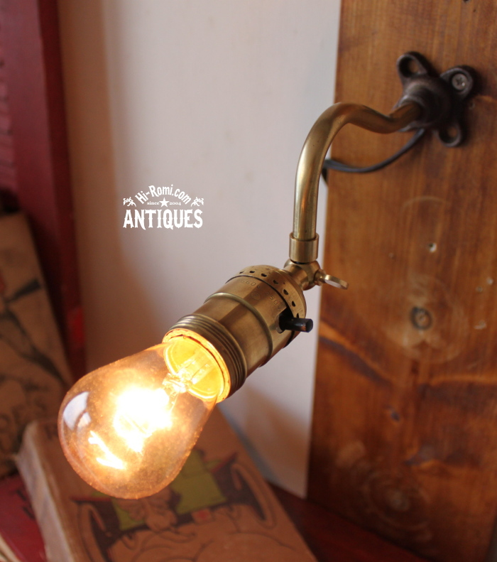 角度調整付工業系真鍮ウォールランプ/アンティーク壁掛ライト 20120104-10