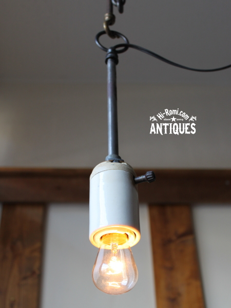 工業系LEVITONポール吊下ランプ陶器ソケット/アンティーク照明 20120110-4