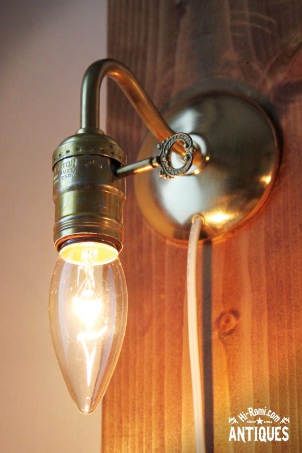鍵付ソケット真鍮アームウォールランプA/工業系アンティーク照明 20120111-2