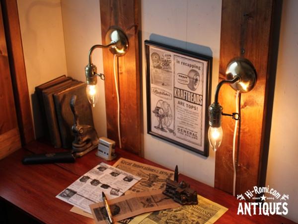 鍵付ソケット真鍮アームウォールランプB/工業系アンティーク照明 20120111-3