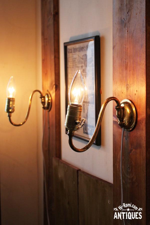 鍵付ソケット真鍮アームウォールランプA/工業系アンティーク照明