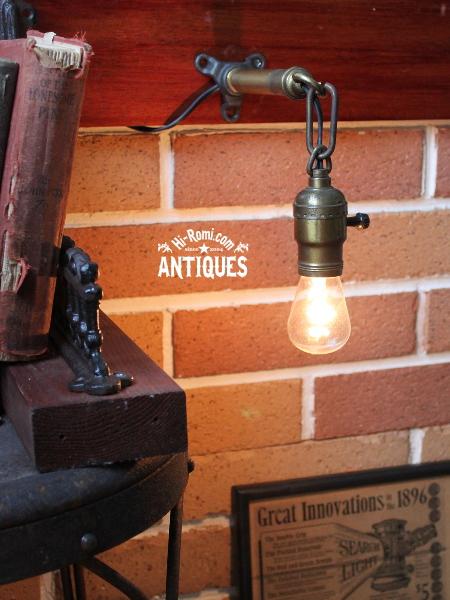 USA工業系真鍮ウォールランプ兼用ペンダントライト/アンティーク