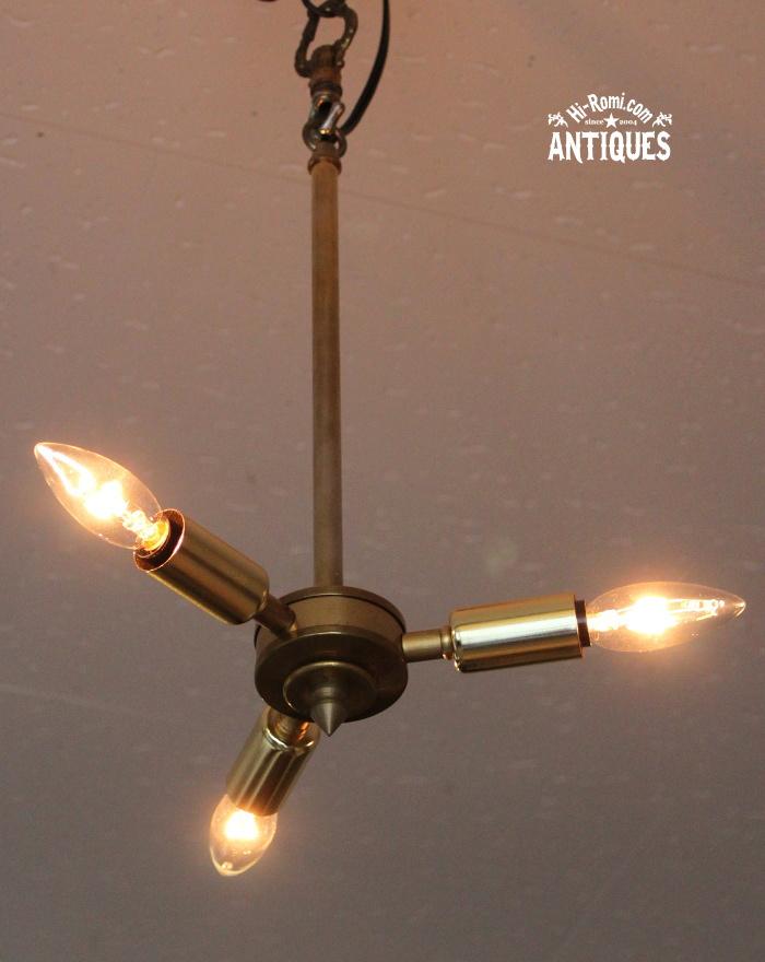 ミッドセンチュリー真鍮3灯ペンダントライト/アンティーク照明 20120216