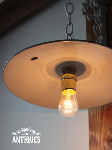 USA工業系ホーローシェード吊下げランプ/アンティーク照明ライト