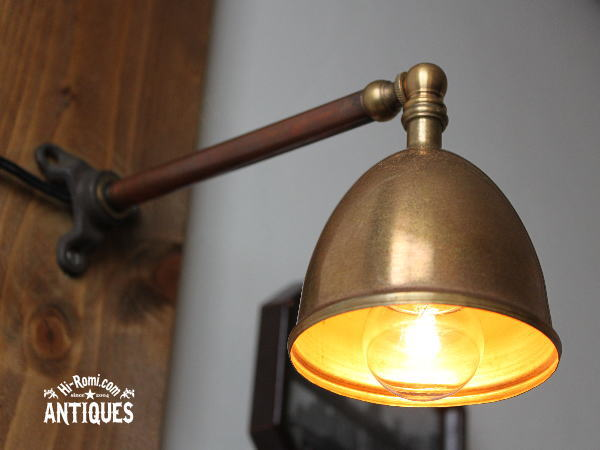 シェード付真鍮製壁掛ライト/アンティーク工業系ウォールランプ