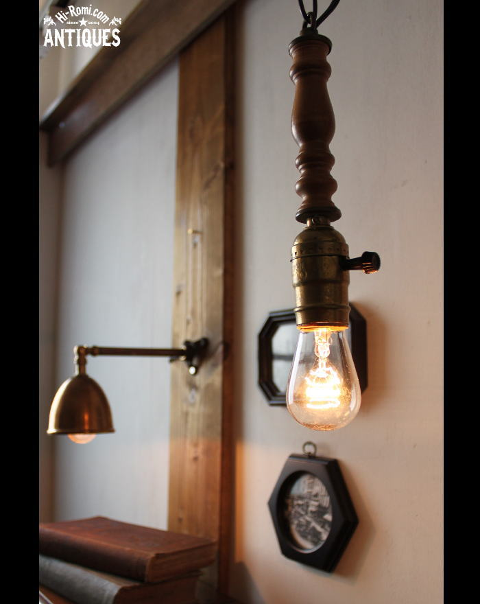 ヴィンテージLEVITONソケット木製吊下ライト/アンティークランプ 20111013