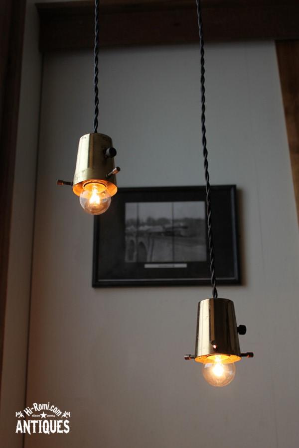 ヴィンテージ真鍮シェードホルダー吊ランプA/アンティークライト