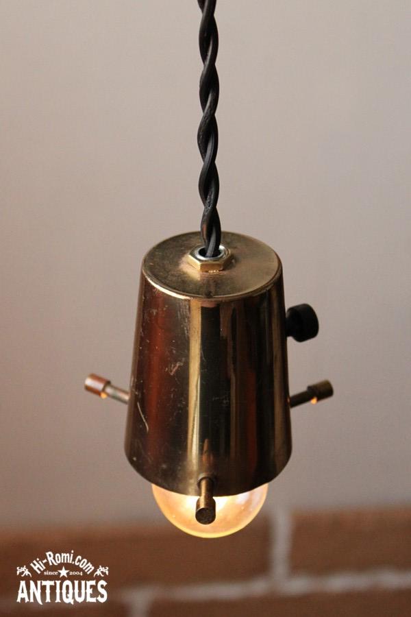 ヴィンテージ真鍮シェードホルダー吊ランプB/アンティークライト