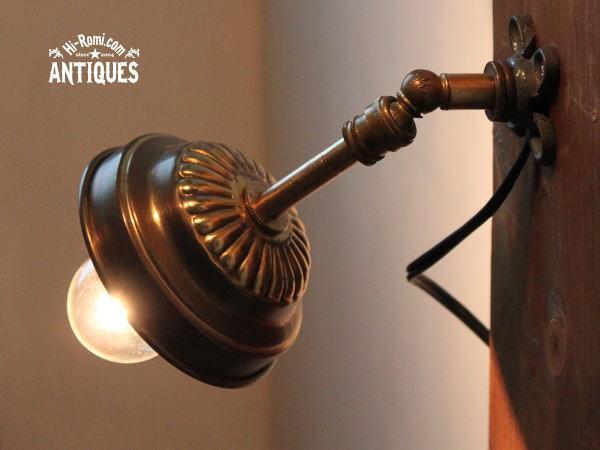 USA角度調整シェード付工業系真鍮壁掛ライトA/アンティーク照明