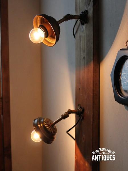 USA角度調整シェード付工業系真鍮壁掛ライトB/アンティーク照明