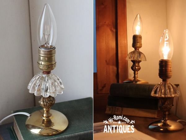 ヴィンテージガラス真鍮ミニテーブルランプA/アンティークライト