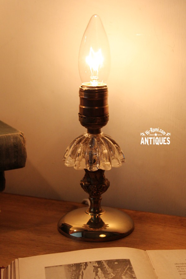 即決★ヴィンテージガラス真鍮ミニテーブルランプB/アンティーク