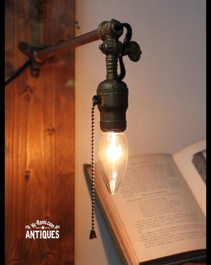 真鍮ソケット工業系壁掛ライトガス燈/アンティークブラケット 20111022-2