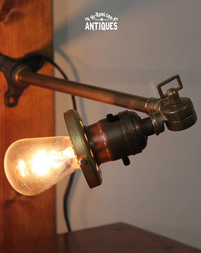 シェードホルダー&角度調整工業系真鍮壁掛ランプ/アンティーク 20111124