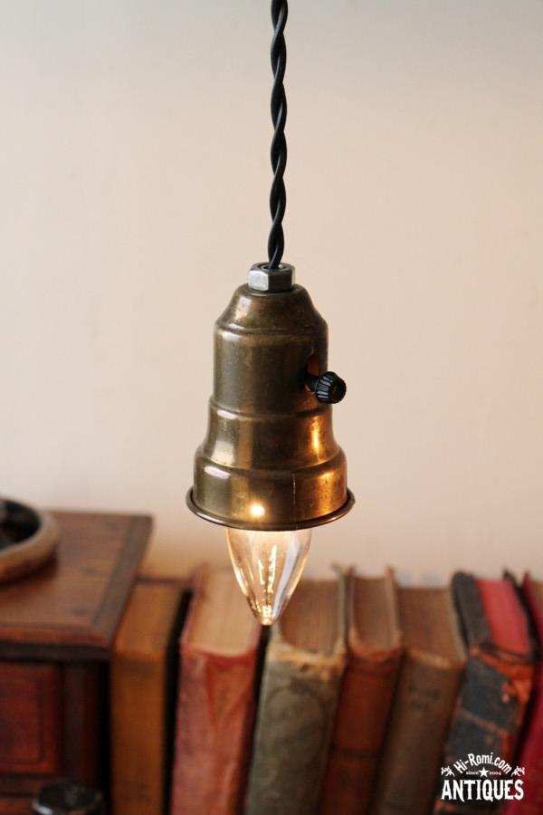 工業系真鍮シェードホルダーペンダントランプA/アンティーク照明