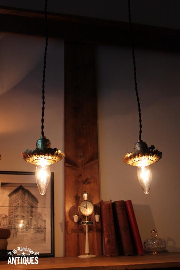真鍮製花形フレーム付きアルミソケットランプB/アンティーク照明