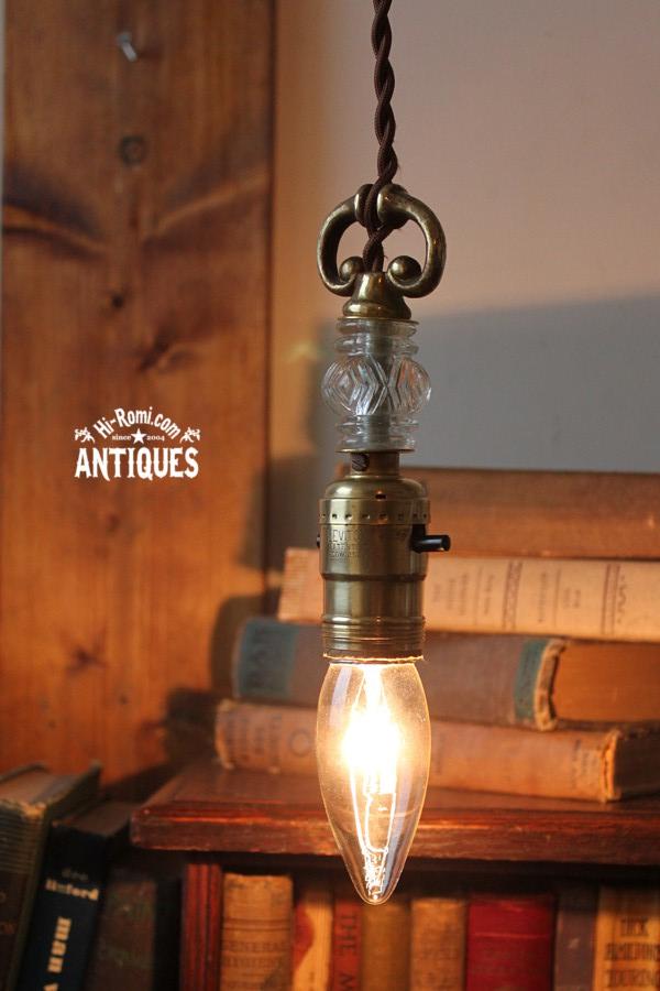 ガラスと真鍮飾りのソケットペンダントランプA/アンティーク照明