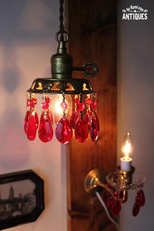 真鍮製ガラスプリズム付ミニシャンデリア/アンティークランプ赤