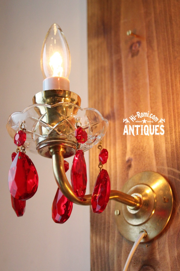真鍮アーム赤ガラスプリズム付ミニウォールランプA/アンティーク