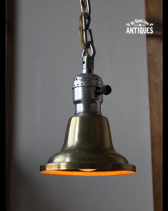 真鍮シェード付吊下ランプ/アンティーク工業系ペンダントライト 20111216-1