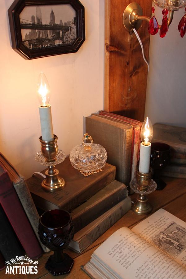 1灯キャンドルミニテーブルランプA/アンティークガラス真鍮照明