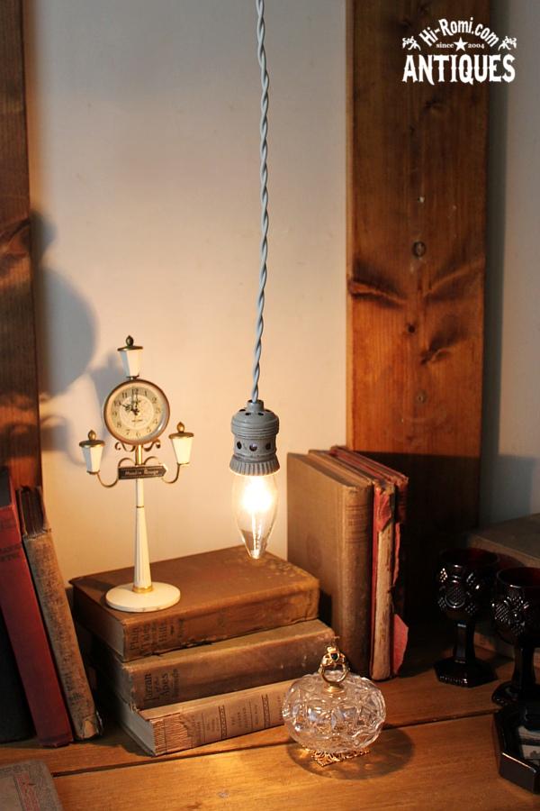陶器/ティン製ソケットペンダントランプ/アンティークライト照明