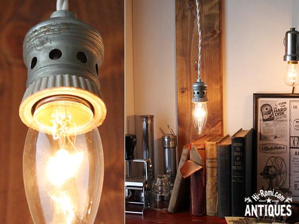 陶器/ティンソケットペンダントランプSilver/アンティークライト