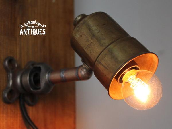 シャビー工業系真鍮ミニウォールランプ/アンティーク壁掛ライト